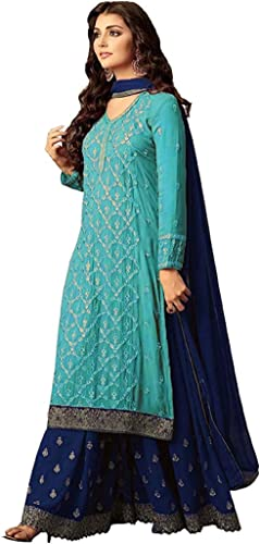 Women s Pure Georgette Embroidered Semi Stiched Palazzo Set With Duppta FreeSize