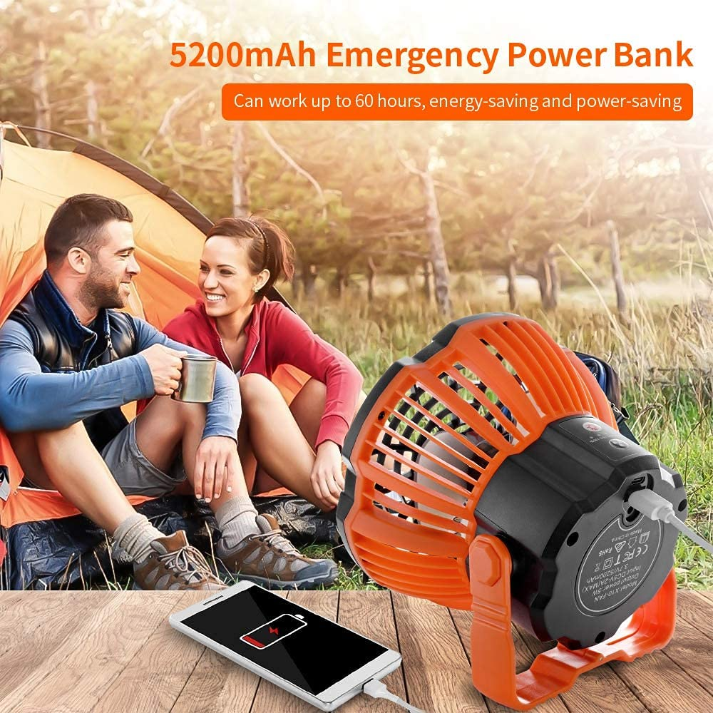 WAMBORY Portable Camping Fan, Rechargeable Tent Fan with LED Light, 5200mAh Battery Desk Table Fan, 180° Head Rotation Ceiling Tent Fan with Remote for Picnic,Outdoor Camping,BBQ,Car
