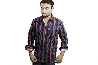 Spanish One Look Mens Casual Long Sleeve 100% Cotton Regular Fit Button Down Casual Shirts Dress in Blue Stripped Shirt for Men
