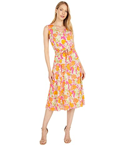 Calvin Klein Printed V-Neck Angle Hem Dress