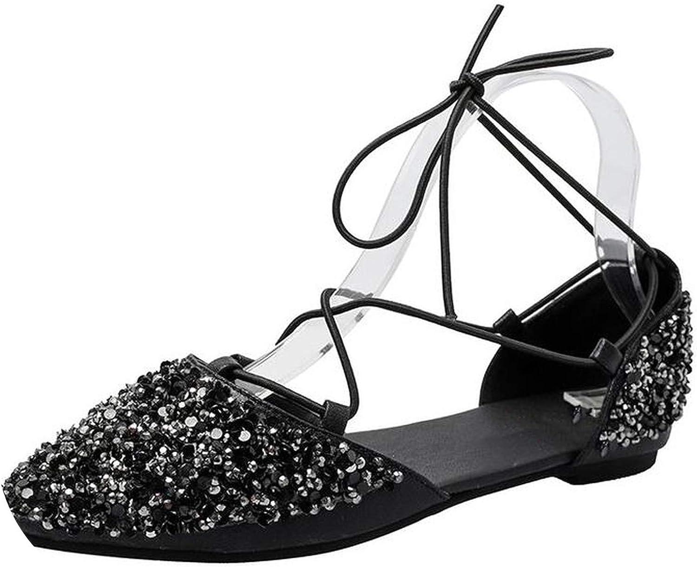 Ankle Strap Flats Women Sandals Women Pointed Toe Women shoes Fashion Sequin Dress Sandals