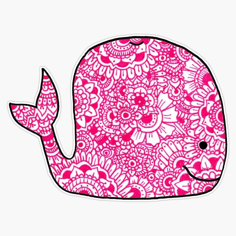 MAGNET Overseas parallel import regular Over item handling ☆ item Whale: Pink Magnet Bumper Flexible Sticker Car Reu