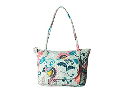 Vera Bradley Carson East/West Tote (Mint Flowers) Tote Handbags