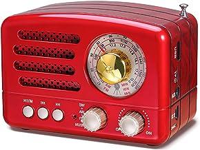 PRUNUS J-160 AM/FM/SW Kleines Retro Radio mit Bluetooth, Nostalgie Radio Tragbares mit 1800mAh wiederaufladbare Batterie, Unterstützt USB/TF-Karte/Aux Funktion rot