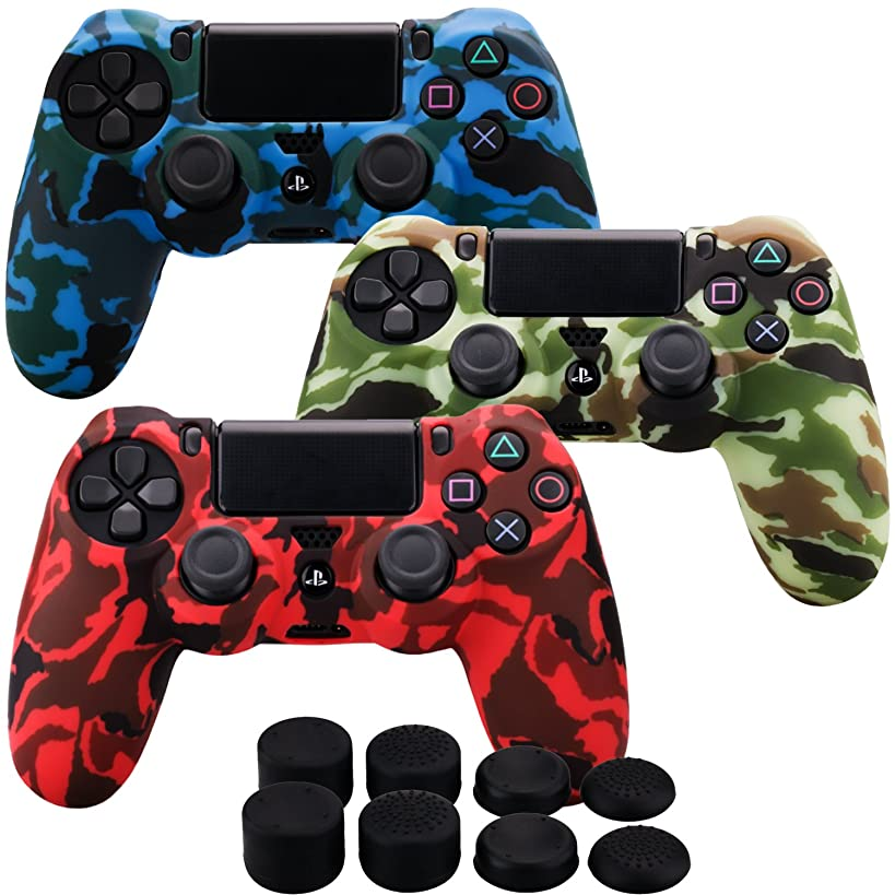 MXRC Silicone rubber cover skin case anti-slip Water Transfer Customize Camouflage for PS4/SLIM/PRO controller x 3(red & yellow & blue) + FPS PRO extra height thumb grips x 8