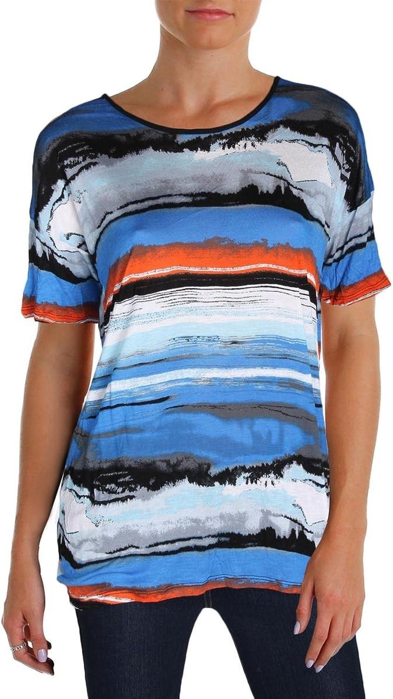 Kensie Knit Watercolor Tee Women's Graphic bluee orange