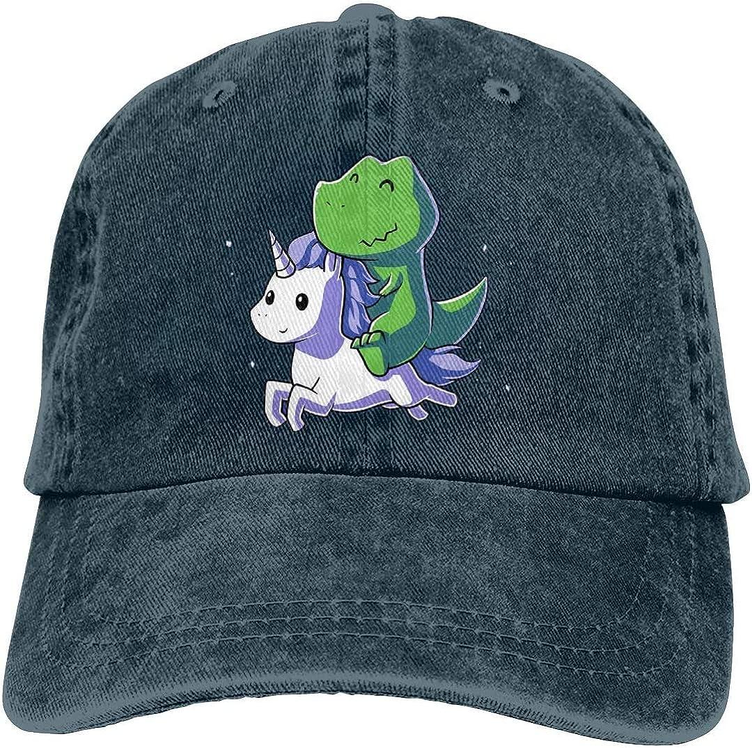 Dinosaurs On Unicorns Retro Adjustable Cowboy Denim Hat Unisex Hip Hop Black Baseball Caps Adjustable