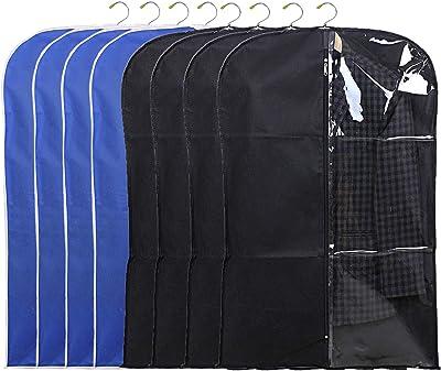 Kuber Industries 8 Pieces Half Transparent Non Woven Men's Coat Blazer Suit Cover (Black & Royal Blue) -CTKTC41586