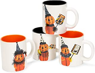 Mr. Pumpkin Black and Orange 5 x 5 Dolomite Ceramic Halloween Mugs Set of 4