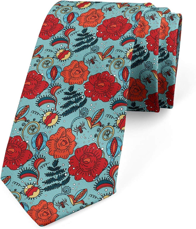 Ambesonne Men's Tie, Venus Flytrap Flowers, Necktie, 3.7