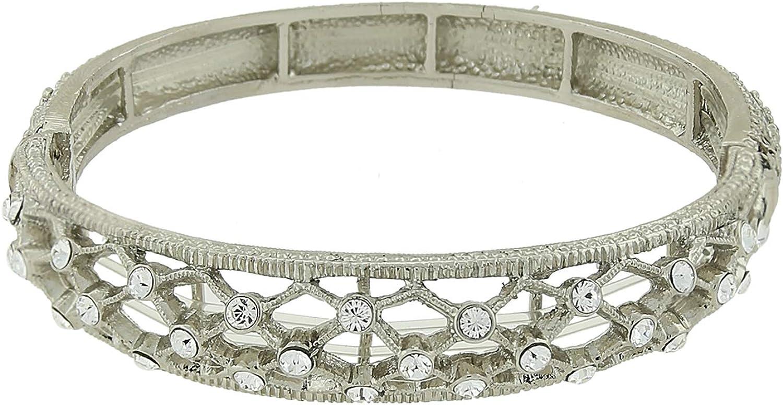 Mesa Mall 2028 Silver Opening large release sale Tone Crystal Stretch Slim Bracelet Filigree