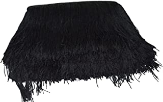 Mangocore 10Yard/Lot 15CM Long Lace Trim Color Polyester Tassel Fringe Trimming For Diy Latin Dress Stage Clothes Accessories (black (as picture ))