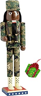 African American Military Soldier Armed Forces Large Unique Decorative Holiday Season Wooden Christmas Nutcracker & Bonus Porcelain Tree Ornament