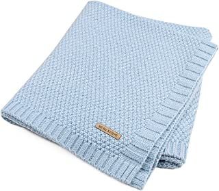 Per Organic Cotton Knitted Baby Blanket Swaddle Receiving Blankets for Newborn Boys Girls Kids(Blue)