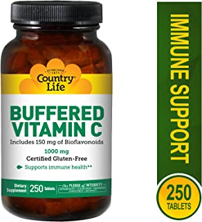 Country Life, Vitamin C Buffered 1000mg with Bioflavs Time Release, 250 Tablets