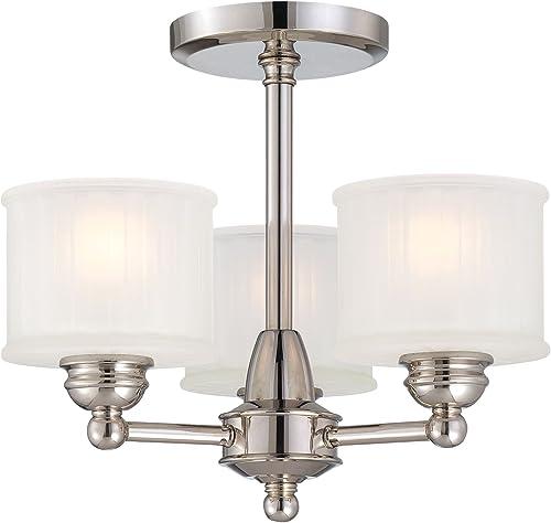 "2021 Minka Lavery online popular Semi Flush Mount Ceiling Light 1730 Series 1738-613 3LT 180 watt (13""H x 16""W) Glass Polished Nickel outlet sale"