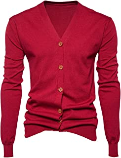 Houshelp Mens Casual Slim Fit Cardigans V-Neck Basic Long Sleeve Button Down Stripe Sweater Knitted Jacket