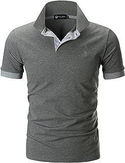 42d93b022a2 STTLZMC Polo para Hombre de Manga Corta Casual Moda Algodón Camisas Cuello  en Contraste Golf Tennis