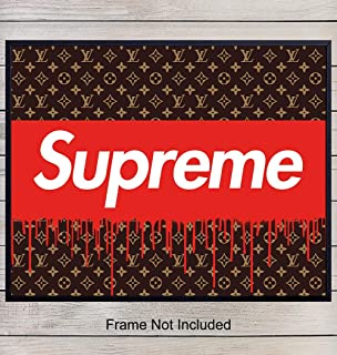 Supreme, Louis Vuitton, LV Logo - Home, Apartment or Wall Decor Poster for Men, Boys, Teens Bedroom, Dorm Decoration - Contemporary Graffiti, Street Art Picture Makes Great Gift - 8x10 Photo Print
