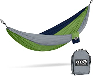 ENO, Eagles Nest Outfitters DoubleNest Lightweight Camping Hammock, 1 to 2 Person, Special Edition Colors, Grey/Green/Blue