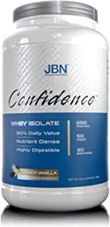 Confidence by JBN 100% Whey Isolate Protein Powder Mix - 5 Grams of Fibersol - Great Tasting - Easily Digestible - High Purity & Potency - Great for Weight Management (French Vanilla, 30 Servings)