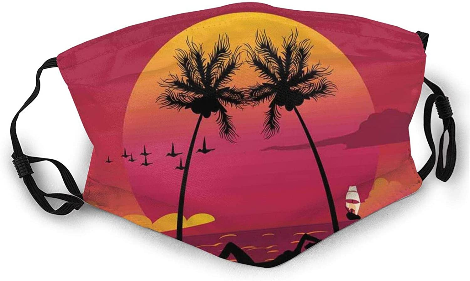 Girl Lying Down in A Hammock Caribbean Coast Relax Vacation Sunset Reusable Face Mask Balaclava Washable Outdoor Nose Mouth Cover for Men and Women Black