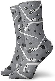 Elsaone, Calcetines grises de vestir de hockey Calcetines divertidos Calcetines locos Calcetines casuales para niñas Niños