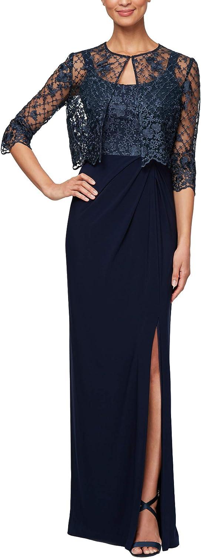Alex Evenings Womens Long Empire Waist Bolero Jacket Dress with Textured Detail