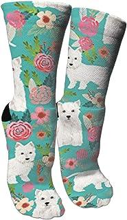 靴下 抗菌防臭 ソックス ワッペンフローラルかわいい犬アスレチックスポーツソックス、旅行&フライトソックス、塗装アートファニーソックス30 cmロングソックス