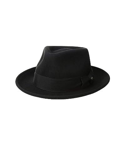 SCALA Wool Felt Fedora with Grosgrain (Black) Caps