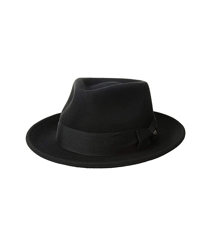 SCALA Wool Felt Fedora with Grosgrain (Black) Caps