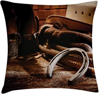 Ambesonne Western Decor Throw Pillow Cushion Cover by, Boho Folklore Materials Classic Style Roper Boots Equestrian Life Icons Heels View, Decorative Square Accent Pillow Case, 18 X 18 Inches, Brown