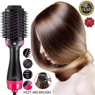 Hot Air Brush One Step Hair Dryer Volumizer Styler Brush,Hair Brush Straightener 2-in-1 Negative Ion Straightening Brush,Salon Reduce Frizz Styling Tools & Appliances Hot-Air Brushes Black (rose)