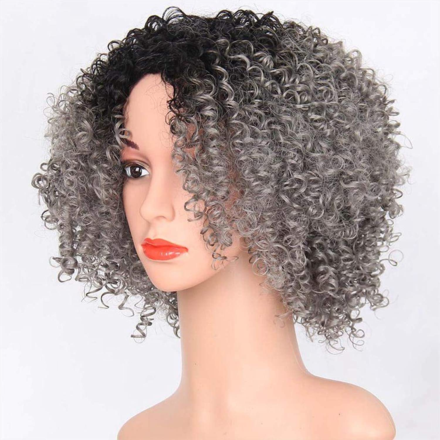 Short Kinky Curly Wig with Synthetic Curly Wigs for Black Women Afro Full Wig Jet Black Heat Resistant Hair