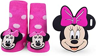 Disney Baby Authentic Pink Minnie Mouse Rattle Socks and Silli Chew Teether Silicone Teething Toy Infant Pain Relief Soother Newborn Gift Set 0-12 Months