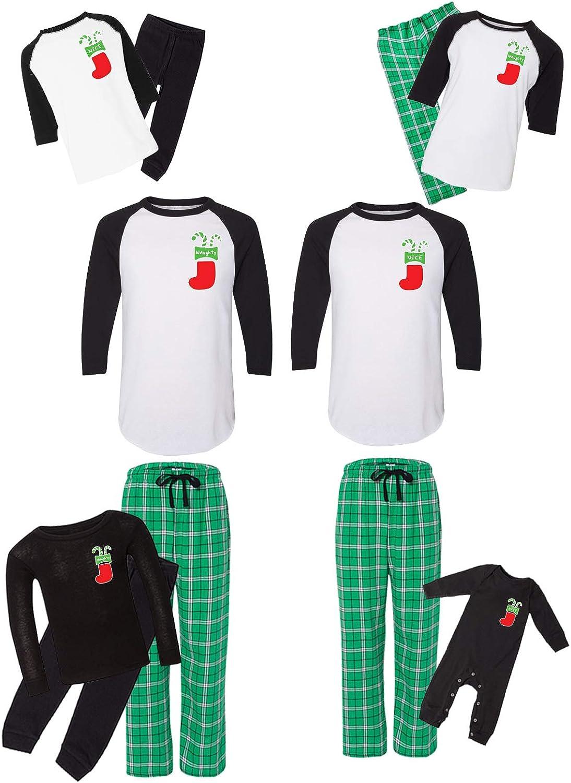 Awkward Styles Matching Christmas Pajamas Set Green Nice Naughty Family Sleepwear Pocket Print Men PJ Set M
