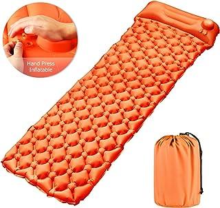 Wanme - Colchón de camping inflable con cojín, cama inflable de camping, grosor 1 persona para mochileros, viajes, playa, camping, al aire libre y interior