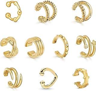 Sloong - Juego de aretes delicados con clip para el cartílago (10 unidades) dorado