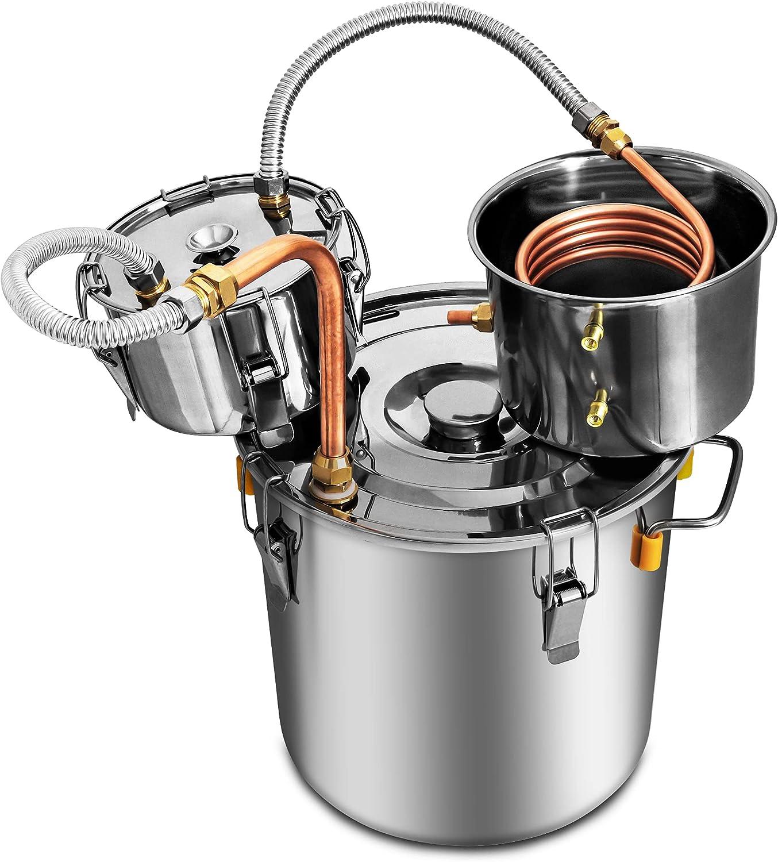 Afranti Stainless Steel Moonshine Still Spirits Kit 5 Gal 19L Alcohol Distiller Boiler Home Use Brewing Kit with Thumper Keg