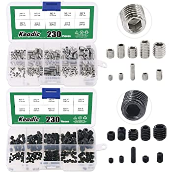 Length: 5//8 inch 1//4-20 x 5//8 Hex Socket Quantity: 100 1//4 inch Grub//Blind//Allen//Headless Screw Coarse Thread Socket Set Screw Half Dog Point Black Oxide Alloy Steel