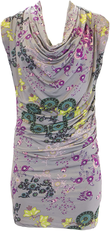 ANALILI Women's Floral Print Cowl Neck Dress 933M15 Sz XSmall Grey