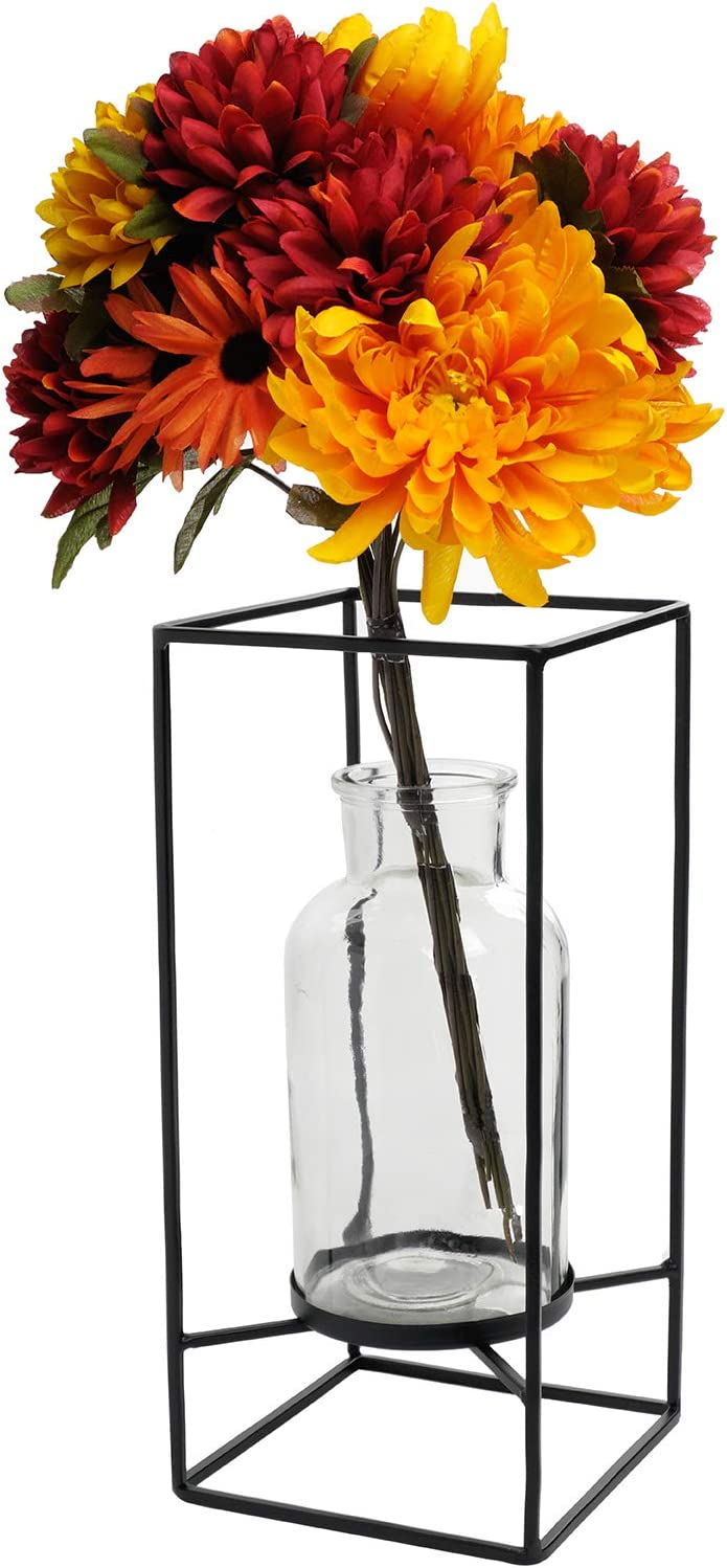 Amazon Com Excello Global Products Decorative Glass Vase With Metal Wire Stand Clear Vase Decoration For Modern Home Decor 12 5 X 5 75 Home Kitchen
