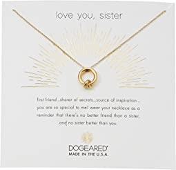 Dogeared Love You, Sister, Together Knot Charm Necklace