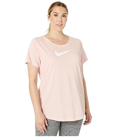 Nike Dry Swoosh Tee (Sizes 1X-3X) (Echo Pink/Heather/White) Women