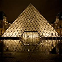 Laeacco Vinyl Thin Backdrop 5X5FT Photography Background France Louvre Museum Glass Pyramid Lighting Night Scene Palace Structure Culture Kids Adults 1.5(W) x1.5(H) m Backdrop Photo Studio Props