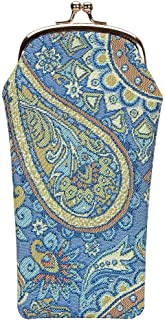 Signare Tapestry Glasses Case for Women Eyeglass Case with Paisley in Paradise Blue Design (GPCH-PAIS)