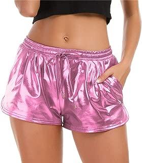 Taydey Women's Yoga Hot Shorts Shiny Metallic Pants with Elastic Drawstring