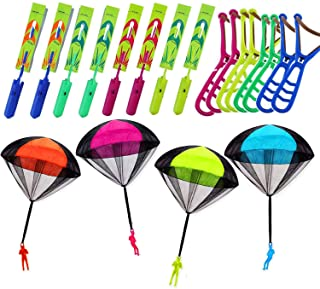 JX 16 Psc Slingshot Helicopter with 4 Pack Parachute Toy Party Favors for Kids Outdoor Toys Flying Toys Airplanes Soldiers...