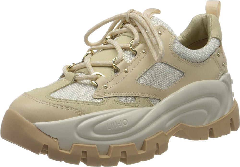 Liu jo jeans wave 01-sneaker,scarpe da ginnastica basse donna,in Pelle e Tessuto Tecnico BA0023TX09200077