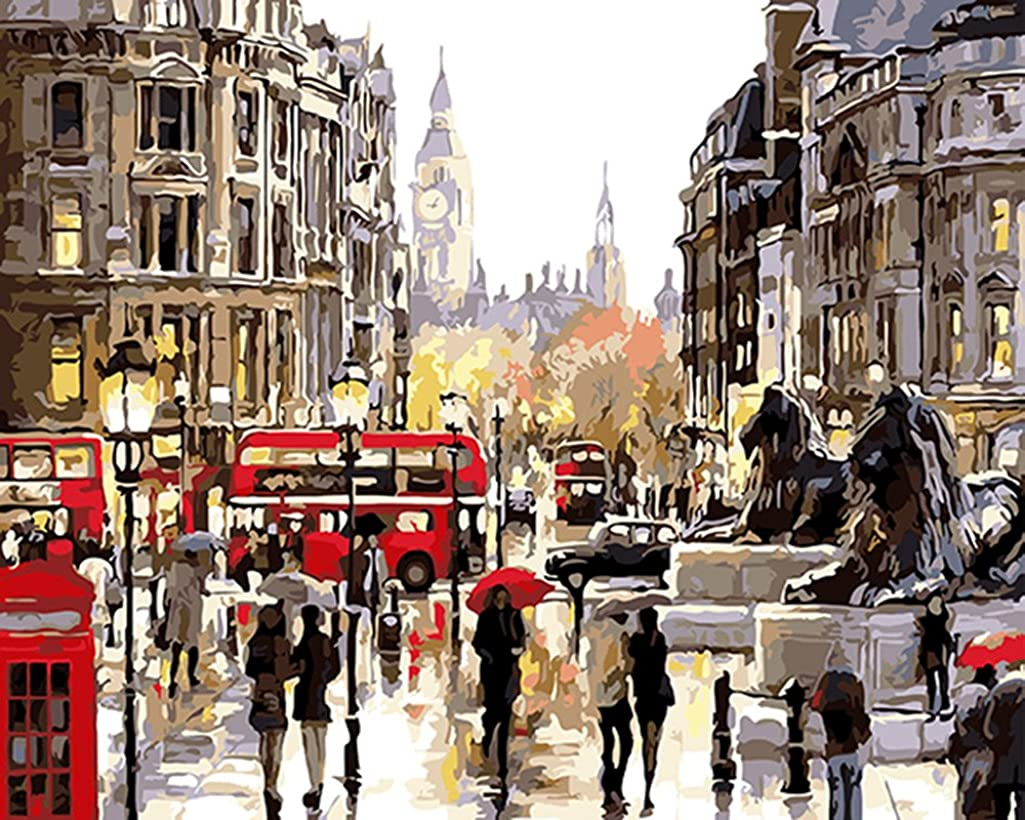 CaptainCrafts New Paint by Numbers 16x20 for Adults, Kids LINEN Canvas - London Street Corner (Frameless)